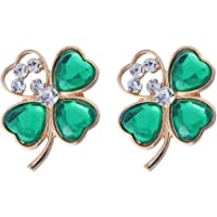 Amosfun 2pcs Shamrock Gold Plated Four Leaf Brooch Clover Hollow Out Rhinestone Lapel Pin St. Patricks Day Accessory St. Patrick's Day Decorations