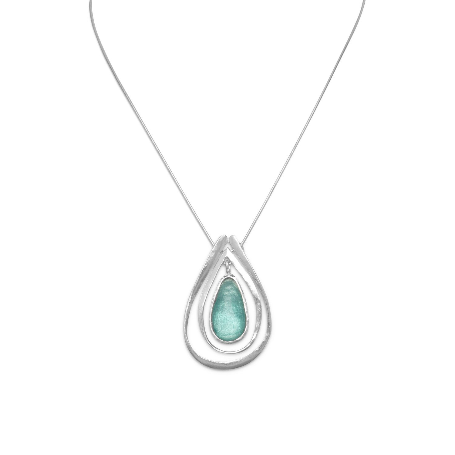 Sterling Silver 16 Inch Necklace Ancient Roman Glass Cut Out Pendant 1mm Snake Chain With Lob-clasp by JewelryWeb