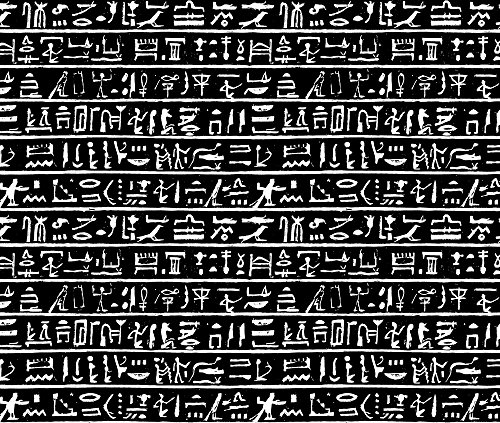 Ancient Egypt Fabric Egyptian Hieroglyphics I // Black // Small by Thin Line Textiles Printed on Basic Cotton Ultra Fabric by the Yard by Spoonflower - Egyptian Print Fabric