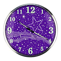 Nclon Romantic Luminous Wall clock,Round Metal Mute silent quiet Quartz Bedroom Wall clock Accuracy Texture-purple 35.6cm