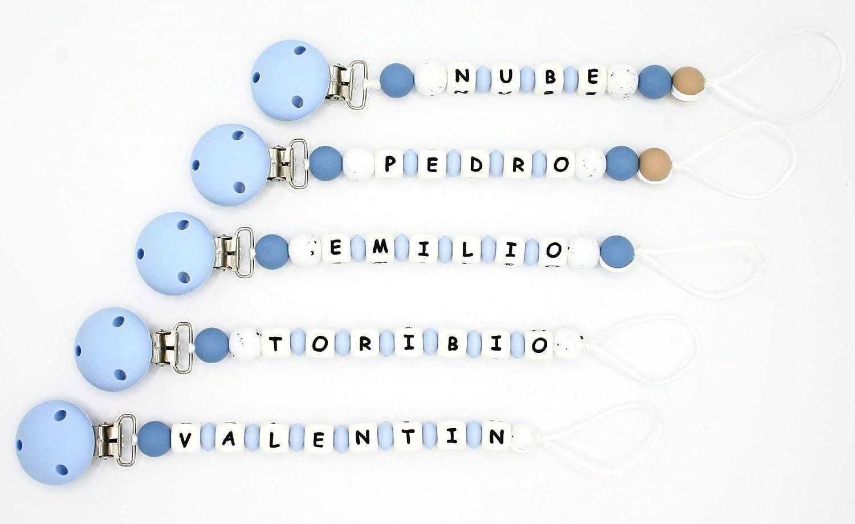 NUBE. Chupetero Personalizado con el Nombre del Bebe Niño. Alivio de las Molestias Propias de la Dentición. Diseño Exclusivo. Práctica Bolsa de ...