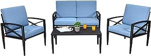 Tangkula 4PCS Outdoor Aluminum Patio Conversation Set, Patio Sofa Set 1 Loveseat, 2 Single Sofas, 1 Coffee Table, Outdoor Furniture Set w/Padded Cushions for Garden, Yard, Pool, Backyard (1, Blue)
