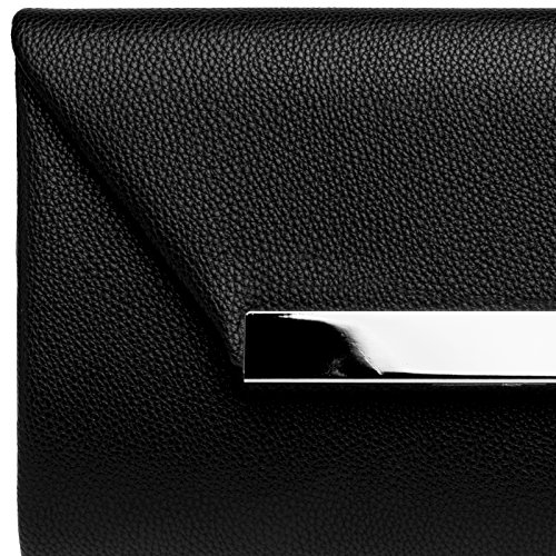 XL with Black for TA419 Elegant Women CASPAR Clutch Envelope Evening Metal Bag Decor 6nEXz7X