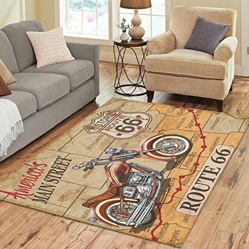 Route 66 Motorcycle (InterestPrint Vintage Route 66 Motorcycle Area Rug Carpet 7 x 5 Feet, American Main Street Modern Floor Rugs Mat for Office Home Living Dining Room Decoration)
