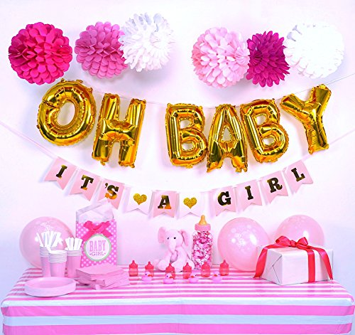 Baby Shower decorations for girl, Pink and Gold Baby Shower Decorations, OH BABY It's A Girl banner, Easy set up Paper Balls, It's a Girl latex balloons, Pink and Gold baby shower favors (Birth Announcement Pink)