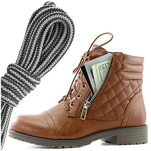 Dailyshoes Donna Militare Allacciatura Fibbia Stivali Da Combattimento Alla Caviglia Alta Tasca Esclusiva Per Carte Di Credito, Nero Scuro Grigio Tan Pu