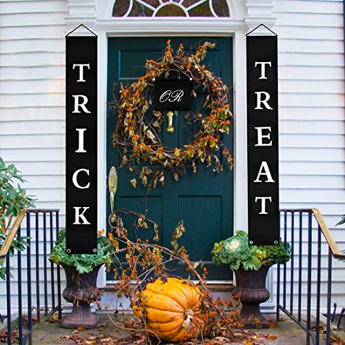 Yamonic Halloween Decorations Trick or Treat Halloween Banner for Home Indoor/Outdoor Signs Decor Ready to Hang for $<!--$8.99-->