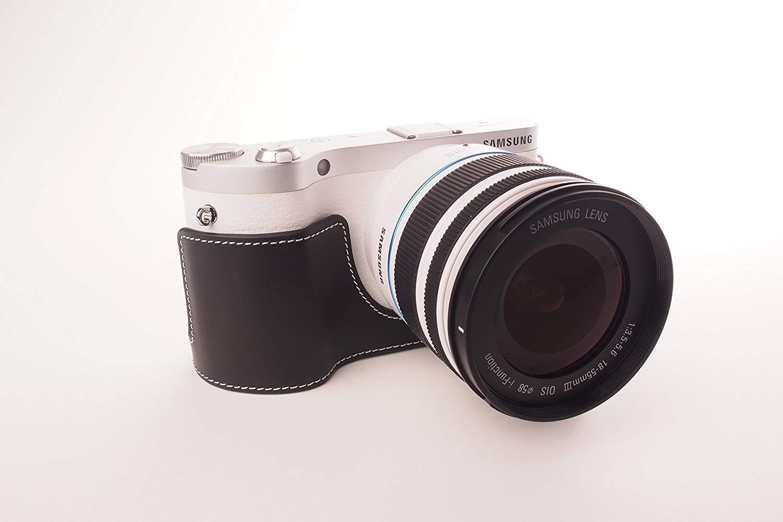 サムスン NX300M 用本革カメラケース ブラック B07SX2KSQM カメラケース&ストラップTP1881&バッテリーケース FreeSize