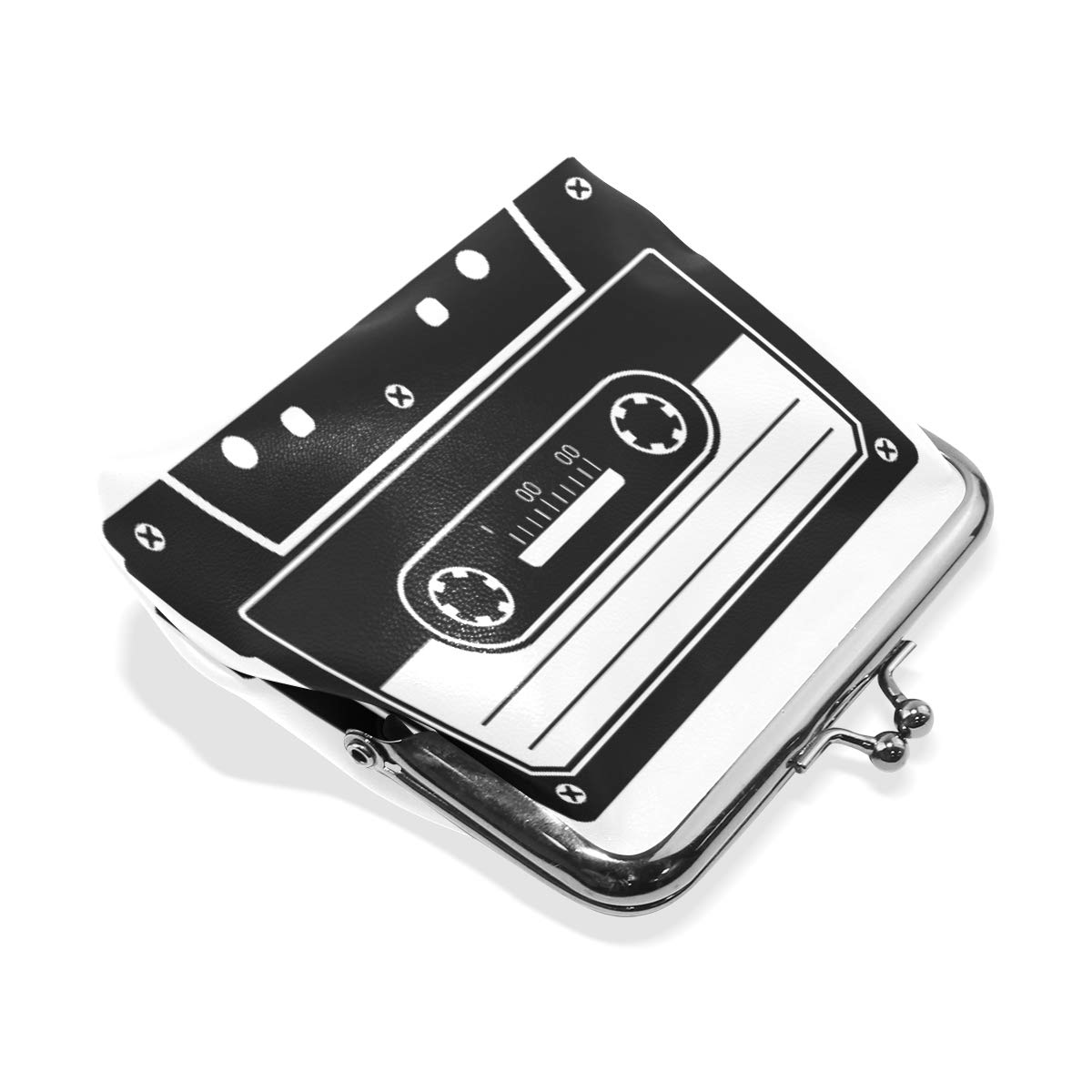 Retro Cassette Music Note Coin Purse Buckle Vintage PU Pouch Kiss-lock Wallet for Women Girl
