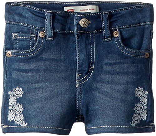 Levi's Kids Baby Girl's Embroidered Shorty Shorts (Infant) Vintage Waters 12 Months (Baby Girl Embroidered Denim)