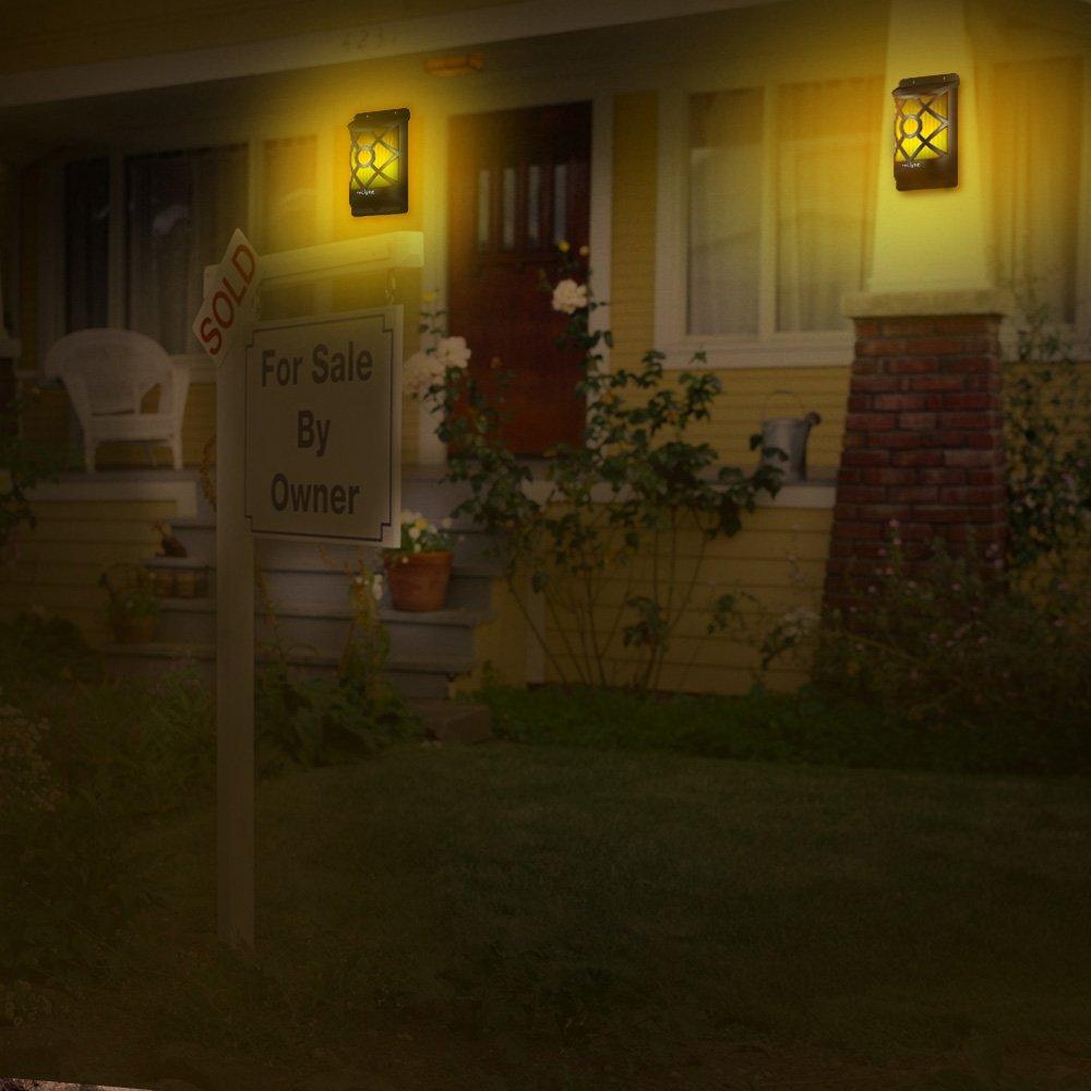 EleLight Flamme Applique Solaire Halloween No/ël Lampe Murale Imperm/éable avec Motif Th/ème 66 LED Auto On//Off Lumi/ère pour Jardin All/ée Voie Escaliers Cl/ôture Terrasse Bar 2 Packs