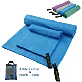 2 Pack Travel Towel, Microfiber Sports Towel Lightweight, Fast Dry, Absorbent and Soft for Beach Yoga Camping Outdoor