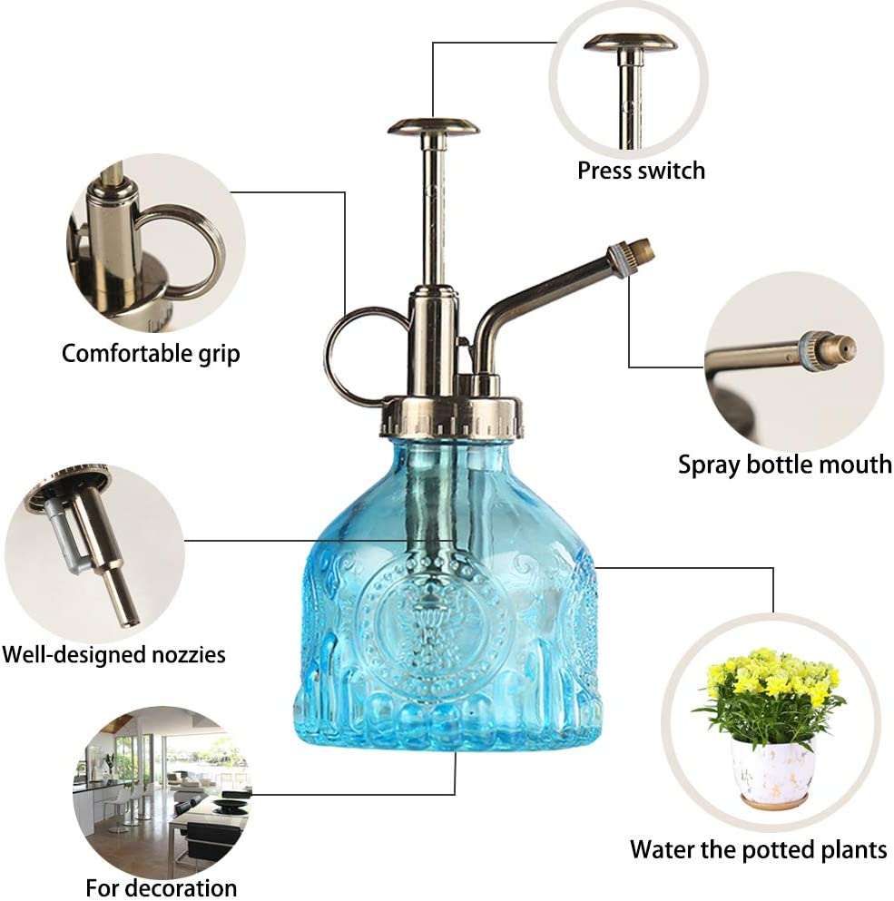 Brown Plant Mister Glass Watering Spray Bottle 6.4 Tall Watering Can Retro High-Atomization Nozzle Sealed Leak-Proof,for Garden Plants Flower