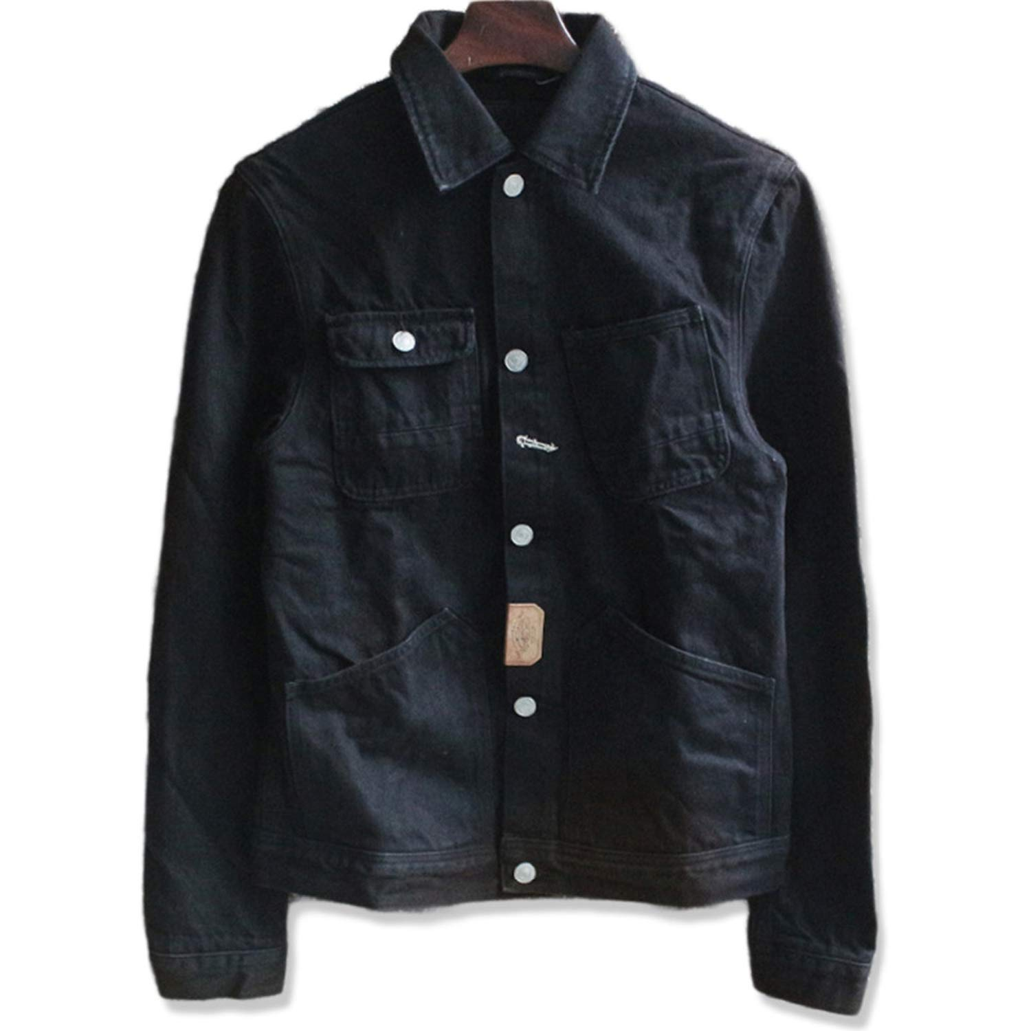 Vintage Cargo Heavy Black Denim Jacket Men Chaqueta Hombre ...