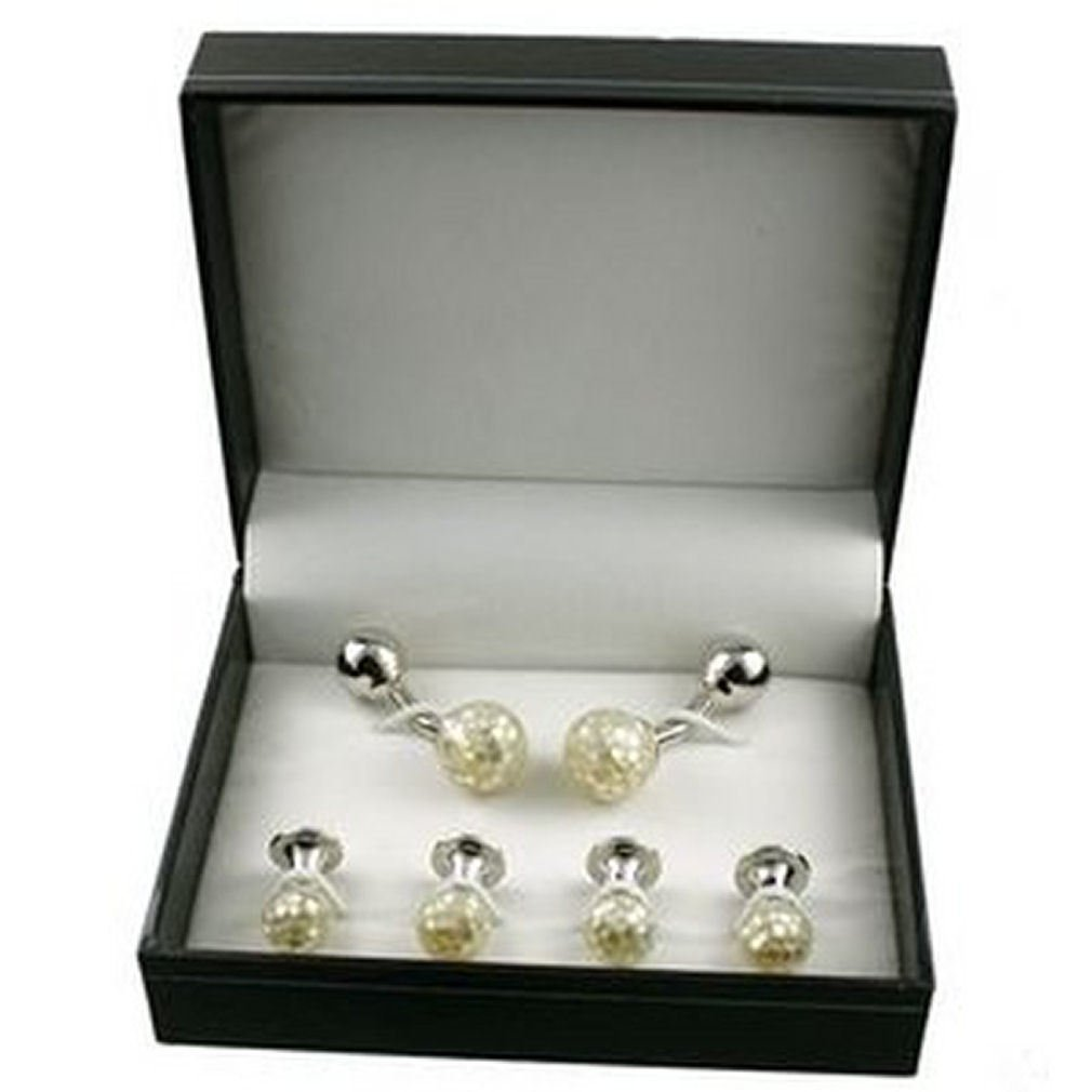 Luxury Gift Set Cufflinks and Dress Studs~Mosaic Cufflinks plus 4 Pearl Dress Stud Set in Presentation Box