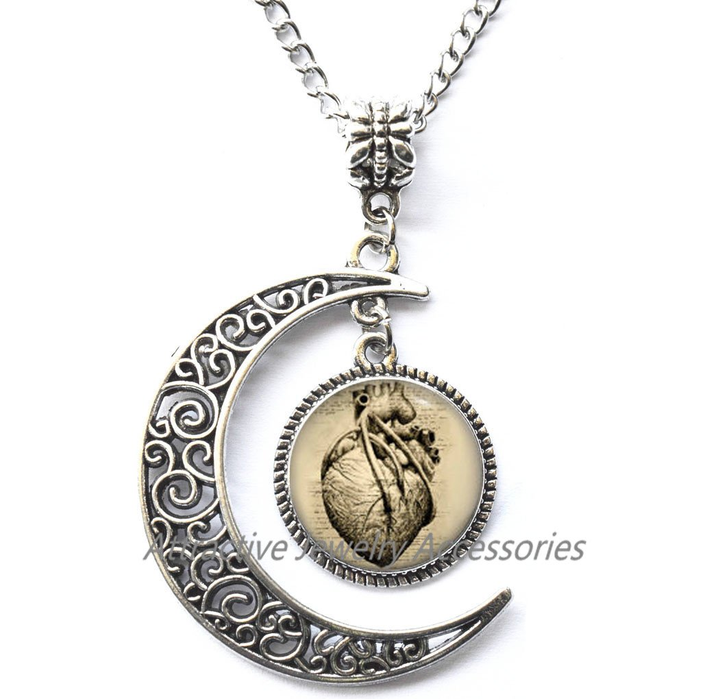 cardiologist Locket Necklace Anatomical heart Locket Necklace,Gothic Heart Locket Pendant for Her for him,QK031 Art Gifts