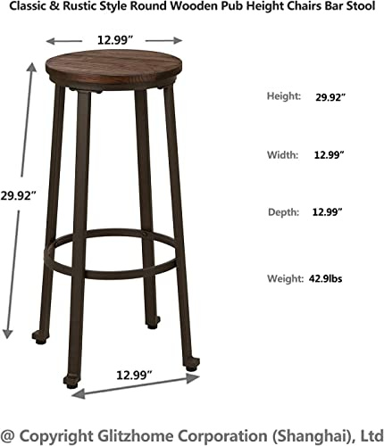 Glitzhome 3 Piece Round Bar Stool and Table Set Pub Height Dining Room Wood Top Metal Bar Bistro Coffee 1 Table 2 Chair