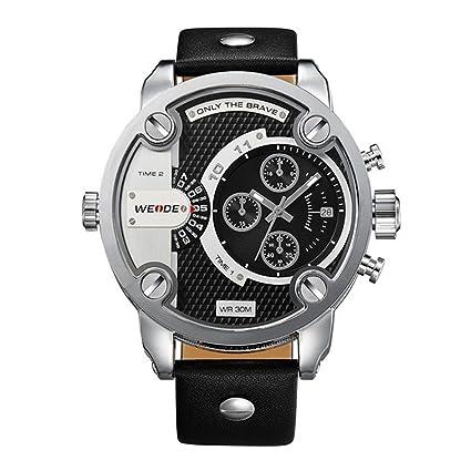 PIXNOR gráfico de hora doble de gran reloj redondo Premium Weide impermeable masculino reloj de pulsera