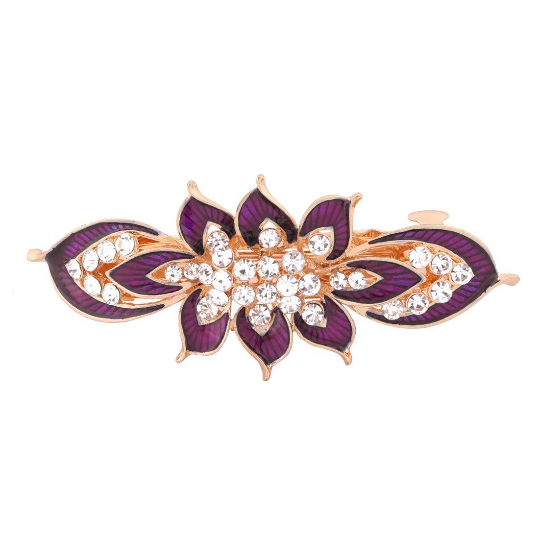 sourcing map Metall Blume Design Faux Strasssteine Intarsien Haarspange Haarnadel Lila DE de