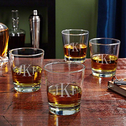 Classic Monogram On the Rocks Glasses, Set of 4 (Personalized Product)