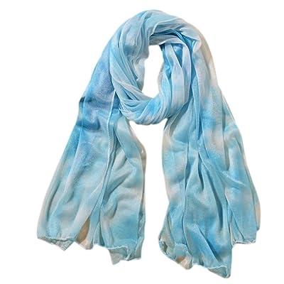 Da.Wa Accessoires de vêtements pour femmes printemps et automne châles style simple foulards de couleur unie bleu et blanc
