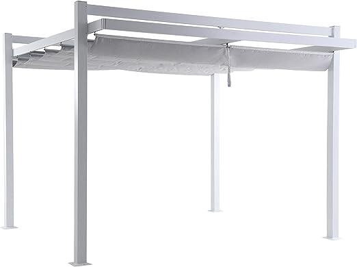 LC Garden Pergola - Parasol (350 x 350 x 260 cm, Aluminio), Color Blanco y Gris: Amazon.es: Jardín