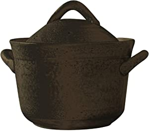 Japanese Donabe Cocer Rice Cooking Pot, 3 Go, 2200cc, Black