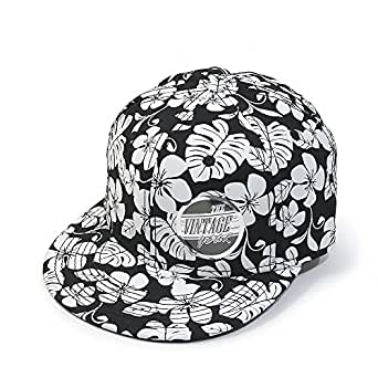 Vintage Year Premium Floral Hawaiian Cotton Twill Adjustable Snapback Hats Baseball Caps (Varied Colors) (Black Flower Flat)