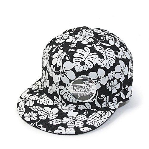 Premium Floral Hawaiian Cotton Twill Adjustable Snapback Baseball Caps (Flower Flat)