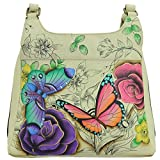 Anna by Anuschka Hand Painted Leather Women'S Medium Hobo, Floral Paradise