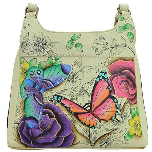 Anna by Anuschka Genuine Leather Triple Compartment Satchel | Hand-Painted Original Artwork | Floral Paradise