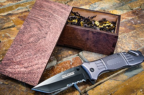 Tactical Knife & Handmade Wooden Box - Wood Groomsmen Gift Boxes w/ Pocket Knives- Groomsman Set, Hunting, Boyfriend, Camping or Mens Gifts- Folding Blade w/Glass Breaker, Assisted Open 434T Engraved Nfl Money Clip