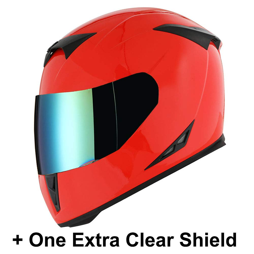 1STorm Motorcycle Full Face Helmet Skull King Glossy Red+ One Extra Clear Shield, Size X-Large Size XL (59-60 CM,23.2/23.6 Inch) by 1Storm