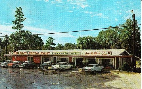 Red Barn Restaurant - Vintage Used Postcard Red Barn Restaurant Lake City, Florida