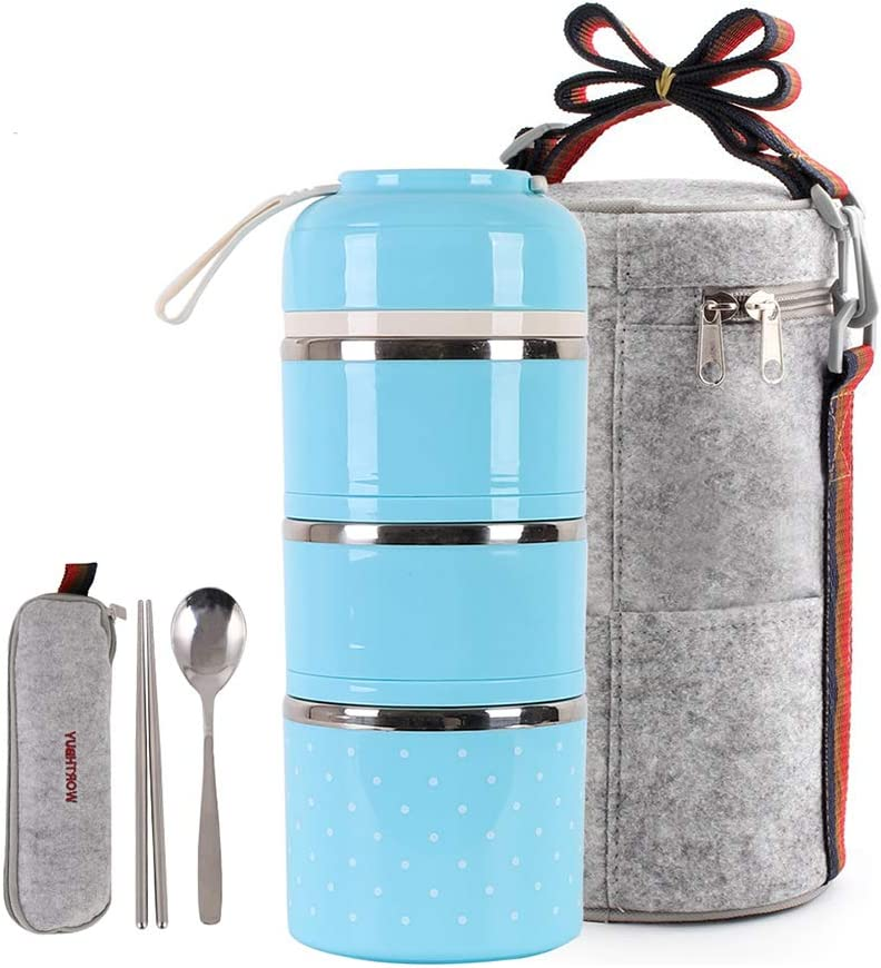 HOMESPON Lunch Box Stainless Steel Bento Box Insulated Lunch Bag Food Container Storage Boxes with Cutlery for Kids Children Teenager Adults Office School Camping (blue-3 tiers)