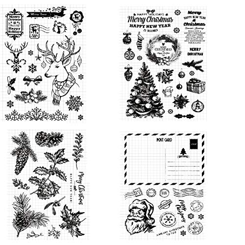 Welcome to Joyful Home 4pcs/Set Merry Christmas and Happy New Year Rubber Clear Stamp for Card Making Decoration and Scrapbooking