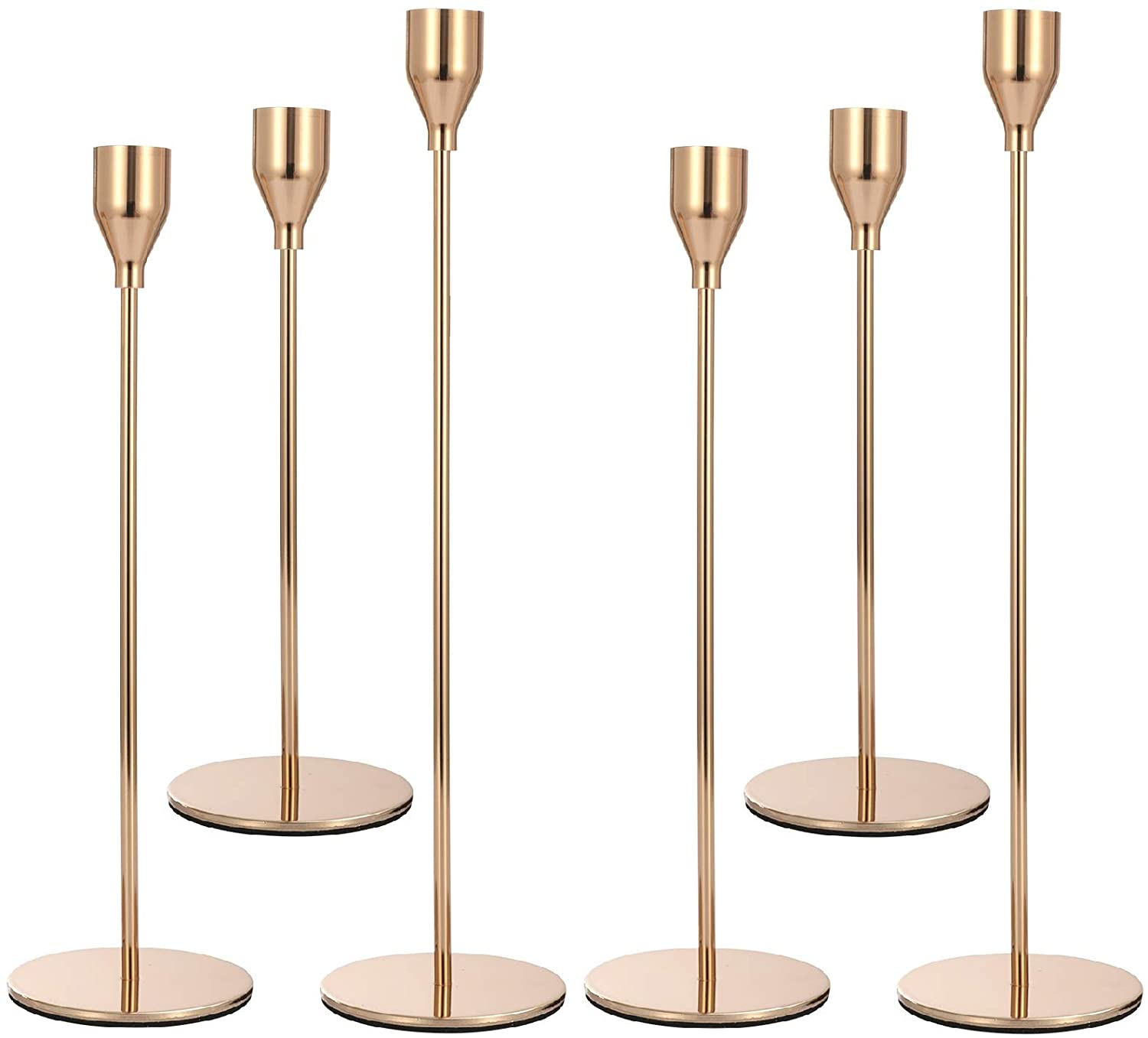 Anndason Set of 6 Gold Candlestick Holders Gold Candle Holder Taper Candle Holders Candle Holders Decorative Candlestick Holder for Home Decor, Wedding, Dinning, Party, Anniversary (Gold)