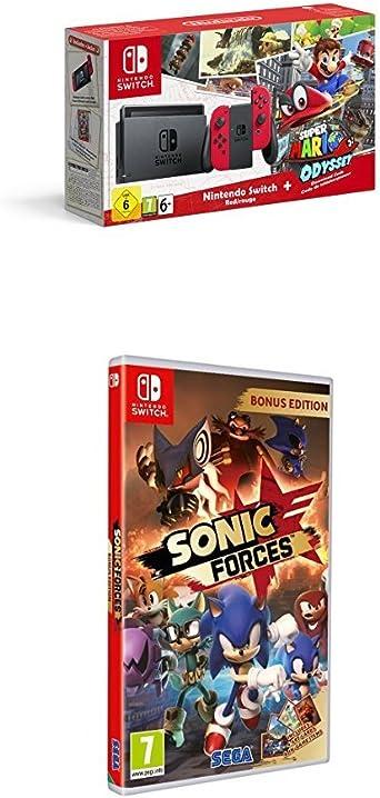Nintendo Switch - Consola + Super Mario Odyssey Bundle (Código Descarga) + Sonic Forces Bonus Edition: Amazon.es: Videojuegos