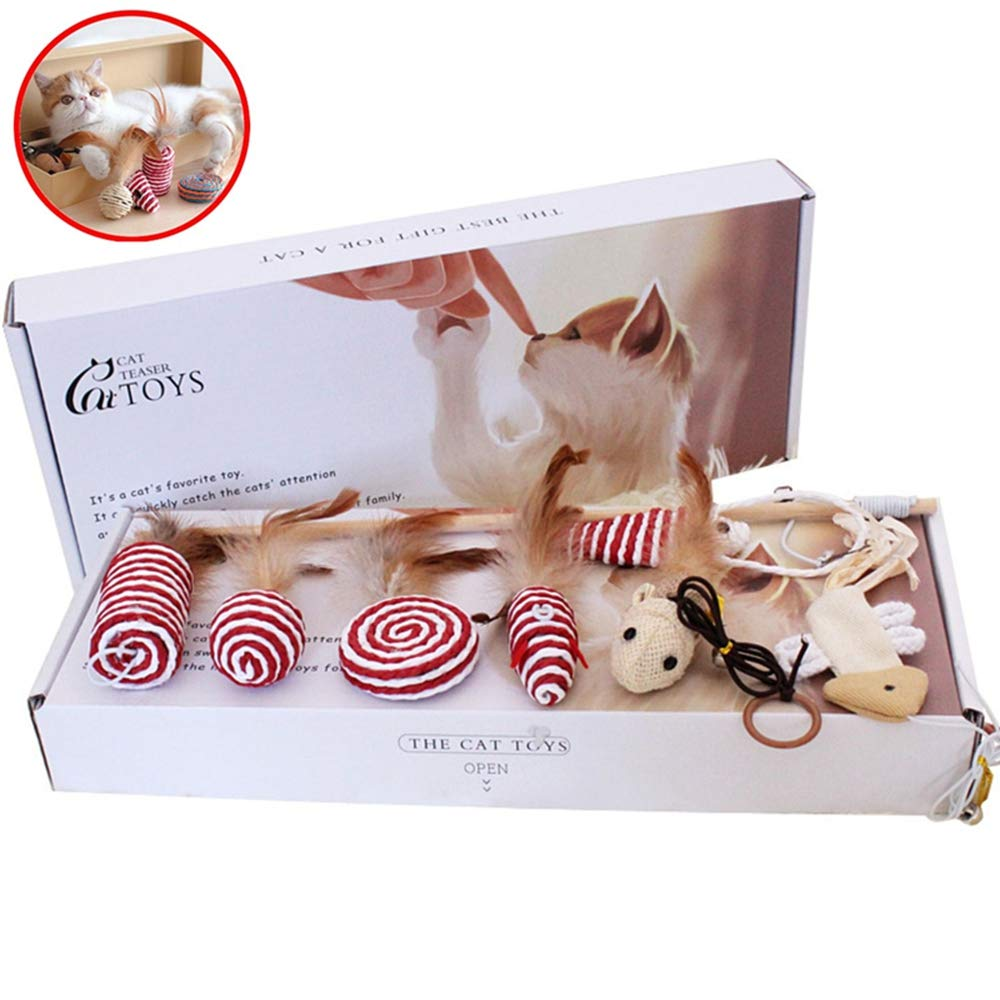 MomoKing cat toys and gift box pet cat toy collection in the cat toy box of the interactive wand toy (7 pieces)