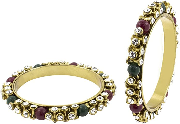 for Women The Jewelbox 3D Antique Oxidized Gold Plated CZ Kundan Pearls Kada Bangle Set of 2 Pair