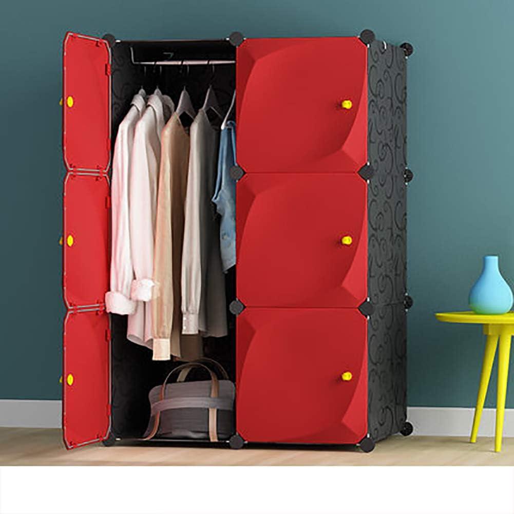 CCSU Armario De Resina Portátil, Plástico Armario con Puertas Y Varilla Colgante Modular Armoire-Rojo L75×w47×h111cm
