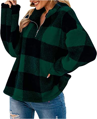 POTO Women Oversized Sherpa Pullover Plaid Fuzzy Fleece Outwear Sweatshirts Stand Collar Sweaters Coats with Zipper