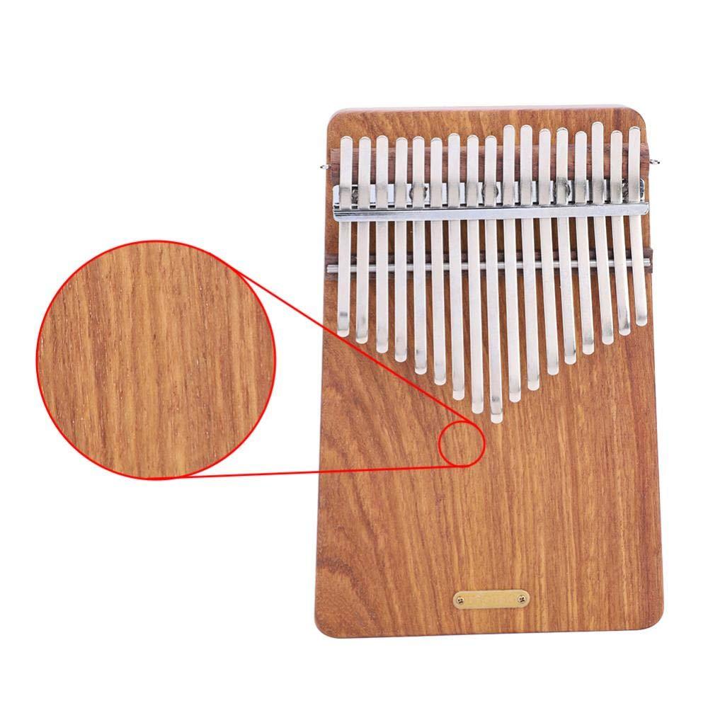 17 keys Kalimba Thumb Piano kit,Portable Thumb Piano Pterocarpus Erinaceus Wooden Body with Tuning Hammer,Pickup,Decorative Tassel Chain,Tremolo chain,Carry Bag by Yosoo- (Image #7)