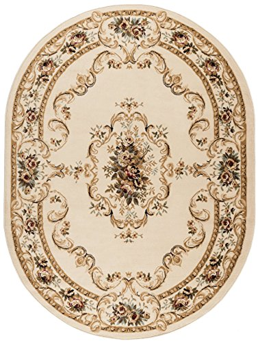 Angeline Traditional Floral Beige Oval Area Rug, 5' x 7' Oval