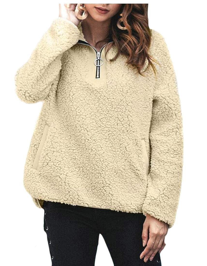 Esast Women Long Sleeve Zip up Sweatshirt Fleece Pullovers Outwears Coats