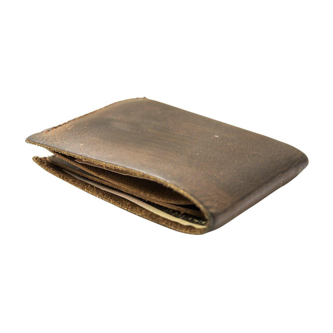 Rustic Leather Slimfold Wallet Credit Card Holder :: Bourbon Brown Hide & Drink 10457643