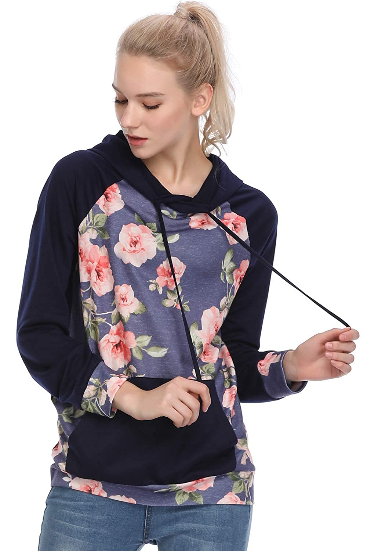kyrakiss Womens Floral Printed Long Sleeve Pullover Hoodie Sweatshirts S-XL