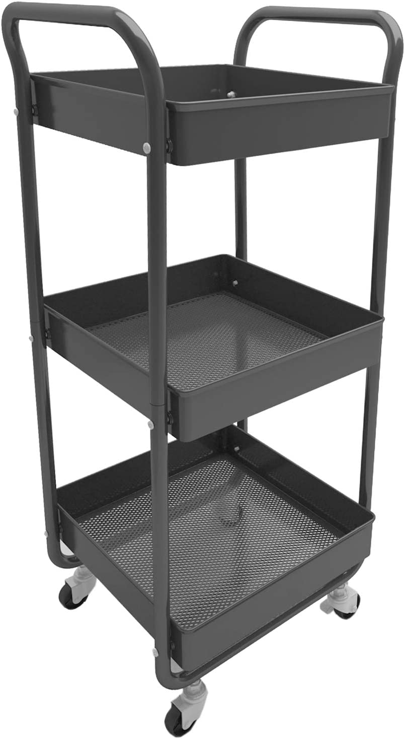 MNOPQ Multifunctional Compact 3 Tier Heavy Duty Rust Proof Metal Rolling Utility Storage Cart Trolley with Wheels Easy Assembly for Kitchen, Office, Bedroom, Bathroom (Black)