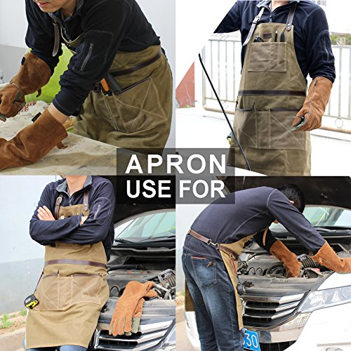 INNO STAGE Tools Apron,Waxed Canvas Work Bib Aprons with Pockets,Full Coverage Utility Apron,Hand Tool Organizers,Gardening Carpentry Lawn Care Accessories for Women and Men by INNO STAGE (Image #3)