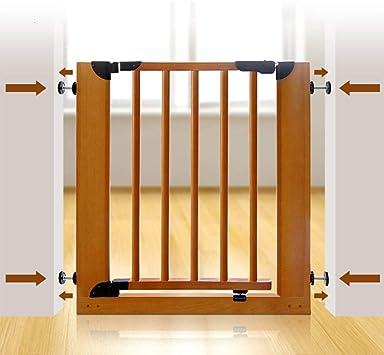 HULAN Puerta de seguridad para niños de madera maciza, cerca de barandilla de la escalera Aislamiento de mascotas para el bebé Cerca de la puerta Cerca de la puerta del bebé Barandilla